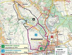 """Trasa III Rajdu Nordic Walking """"Rodzina na Start"""" w Krzeszowicach"""