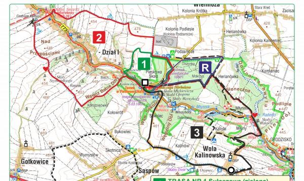Mapa Rajdu nordic walking Juromania 2018 – Zamek na Pieskowej Skale.